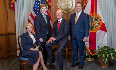 From left to right: Attorney General Pam Bondi, Commissioner of Agriculture Adam H. Putnam, Governor Rick Scott, Chief Financial Officer Jimmy Patronis.