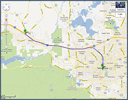 This Google Maps link of directions from Interstate 10 West opens into a new window.