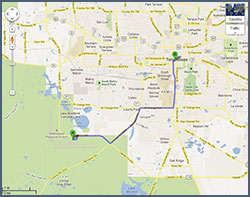 This Google Maps link of directions from the Tallahassee Airport opens into a new window.